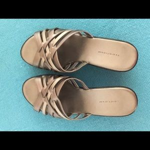 Predictions Shoes - Pewter colored wedge sandals. Lightly worn.